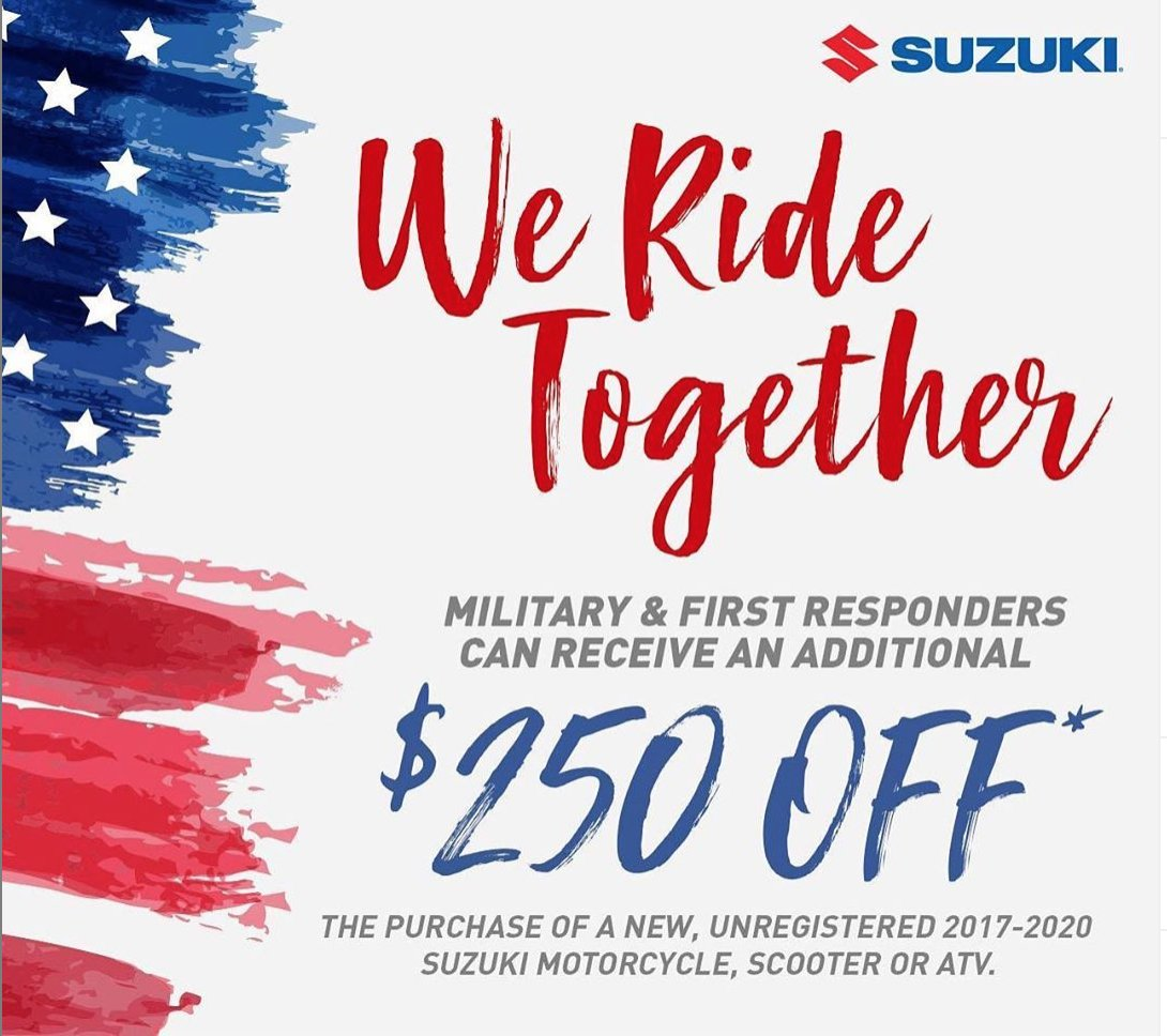 Happy Fourth of July! Now is the perfect time to find your freedom on a new Suzuki motorcycle or ATV! Head to your local Suzuki dealer and check out the fire-cracking deals like the Suzuki Dealer Deal Days, We Ride Together Incentive, and much more.  #Suzuki #SuzukiCyclespic.twitter.com/bJ4pNg63SX
