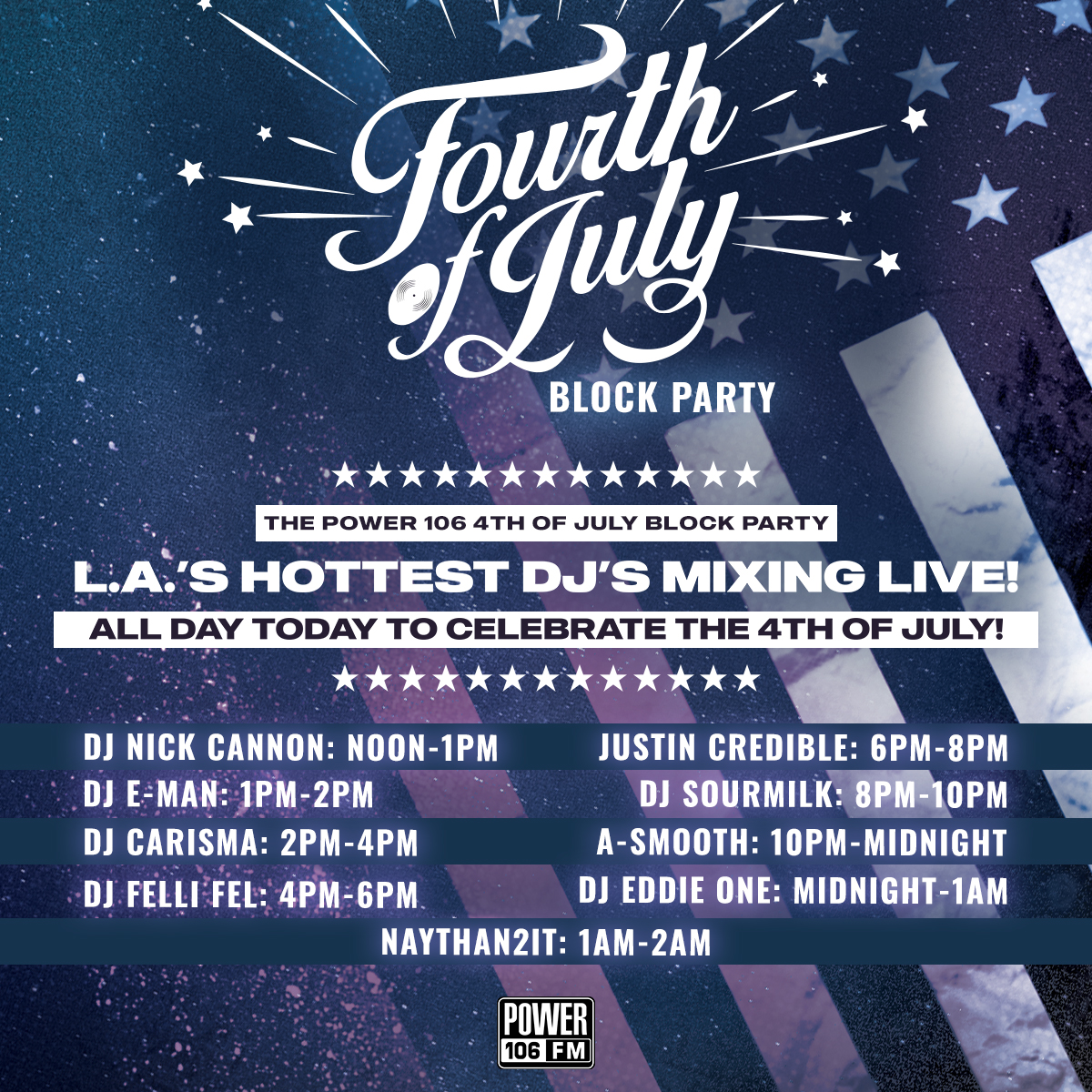 Let's Go‼️ Be sure to turn us up today for the #POWER106 4th of July Block Party!  Stay connected, take us with you and LISTEN LIVE on our Streaming App, via your Smart Speakers, and OF COURSE on https://t.co/RjIeNgYj8V. https://t.co/mLhVFQ5UDD