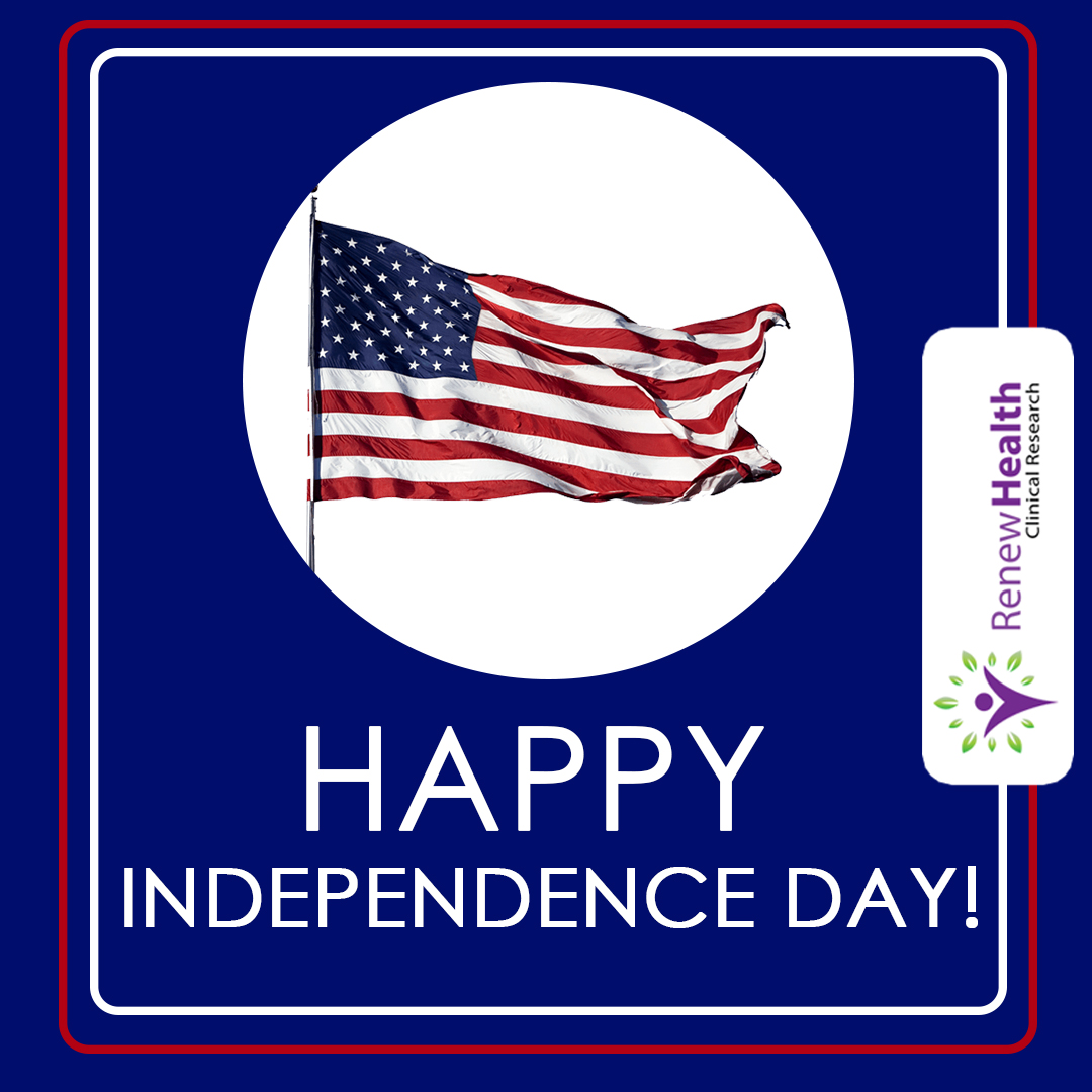 Happy 4th of July from Renew Health Clinical Research! #HappyIndependenceDay #Happy4thofJuly #ClinicalResearch #MedicalNews #ResearchNews #ClinicalTrials #RenewHealthCR https://t.co/NxjvDzPflb
