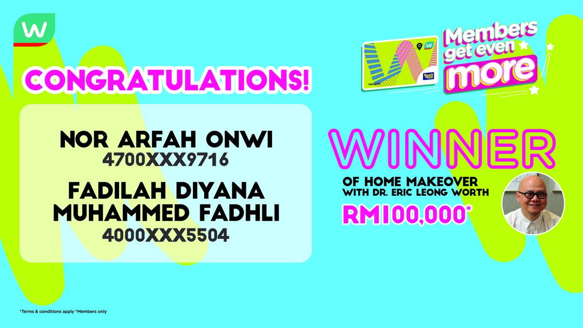 Watsons Malaysia On Twitter Congratulations To Our Two Lucky Watsonsmalaysia Members Who Have Won The Win A Home Makeover By Dr Eric Leong To Others Stay Tuned For Other Exciting Giveaways