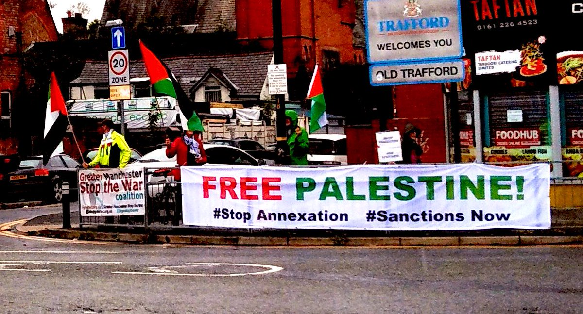 Today in #Manchester    @PSCupdates  Day of Action Against Israel's Annexation of Palestinian Land   #EndApartheid #StopAnnexation #SanctionsNow  #FreePalestine #FreeGaza  #BDS #Israelpic.twitter.com/fdOjYA6kOx
