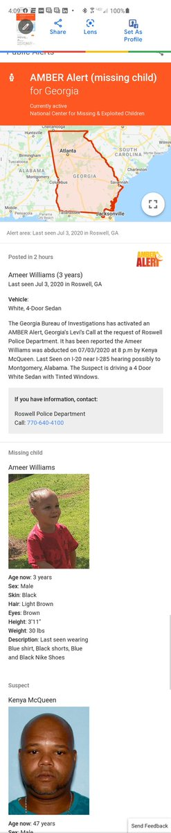 #BREAKING: Missing child Ameer Williams has been located and found safe. Ameer Williams was abducted on 07/03/2020 at 8 p.m by Kenya McQueen. Kenya is still at large. If you see him call the @RoswellGAPolice and @GBI_GA. #amberalert