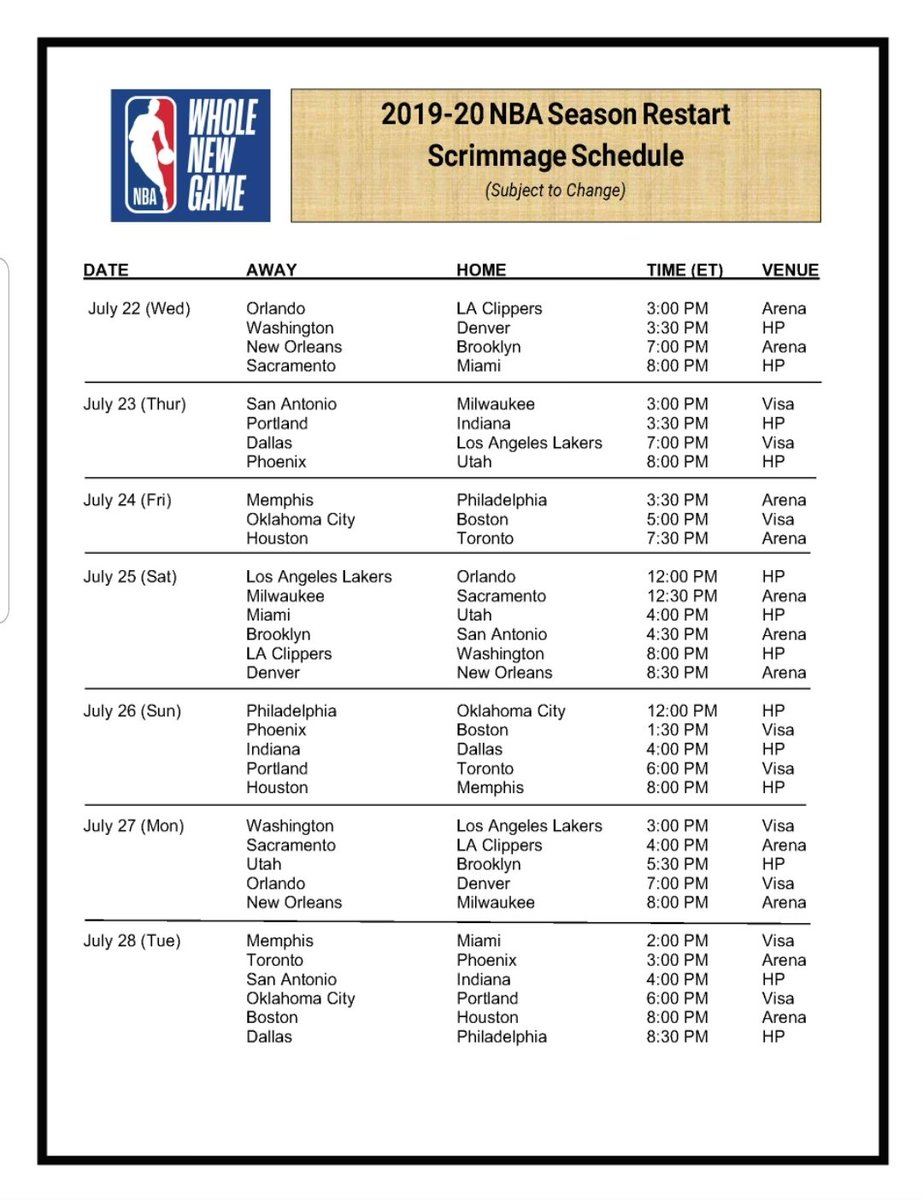 Heres the #NBA scrimmage schedule for the 22 teams that will be in the Orlando, Fla. Bubble.