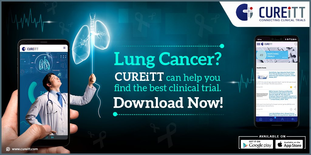 Many treatments available today for lung cancer are the results of numerous clinical trials. Find all-new active clinical trials for lung cancer in the CUREiTT app.  Android: https://t.co/S4xkn4UCpN iOS: https://t.co/wYQkLzadu3 #CUREiTT #findcurewithCUREiTT #clinicaltrials https://t.co/KZ75JKsT8K