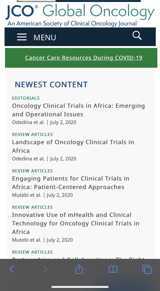 Thanks to @ASCO JCO Global Oncology for shining the light on Cminical Trials in Africa. Many challenges but we can overcome. Let's go to work #ACTC , @AORTIC_AFRICA , @CaPTC7 , @agcpng , @DiasporaNgr etc.  #ClinicalTrialsAfrica #AfricaIsRising #clinicaltrials  #CancerResearch https://t.co/zpLTLOU0os