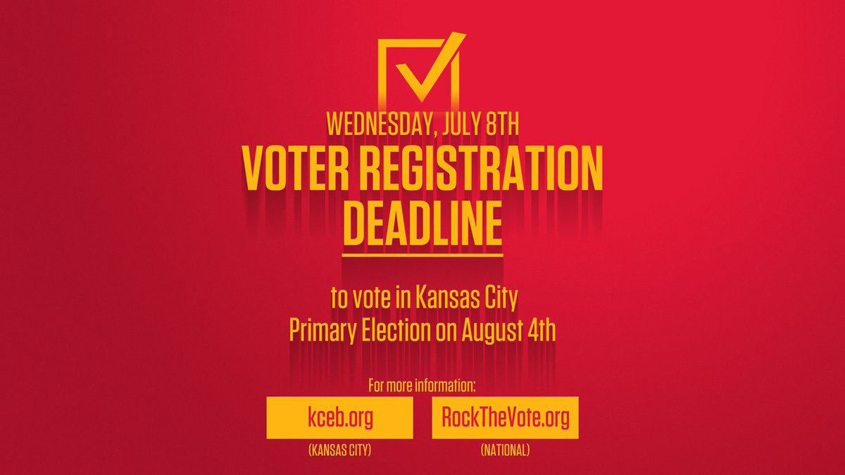 Are you registered to vote? KC deadline is July 8th!  It's easy to confirm here: https://t.co/JuLAtsCnnG  Tweet me a screen shot of your confirmation! https://t.co/m0Yl6lAsar