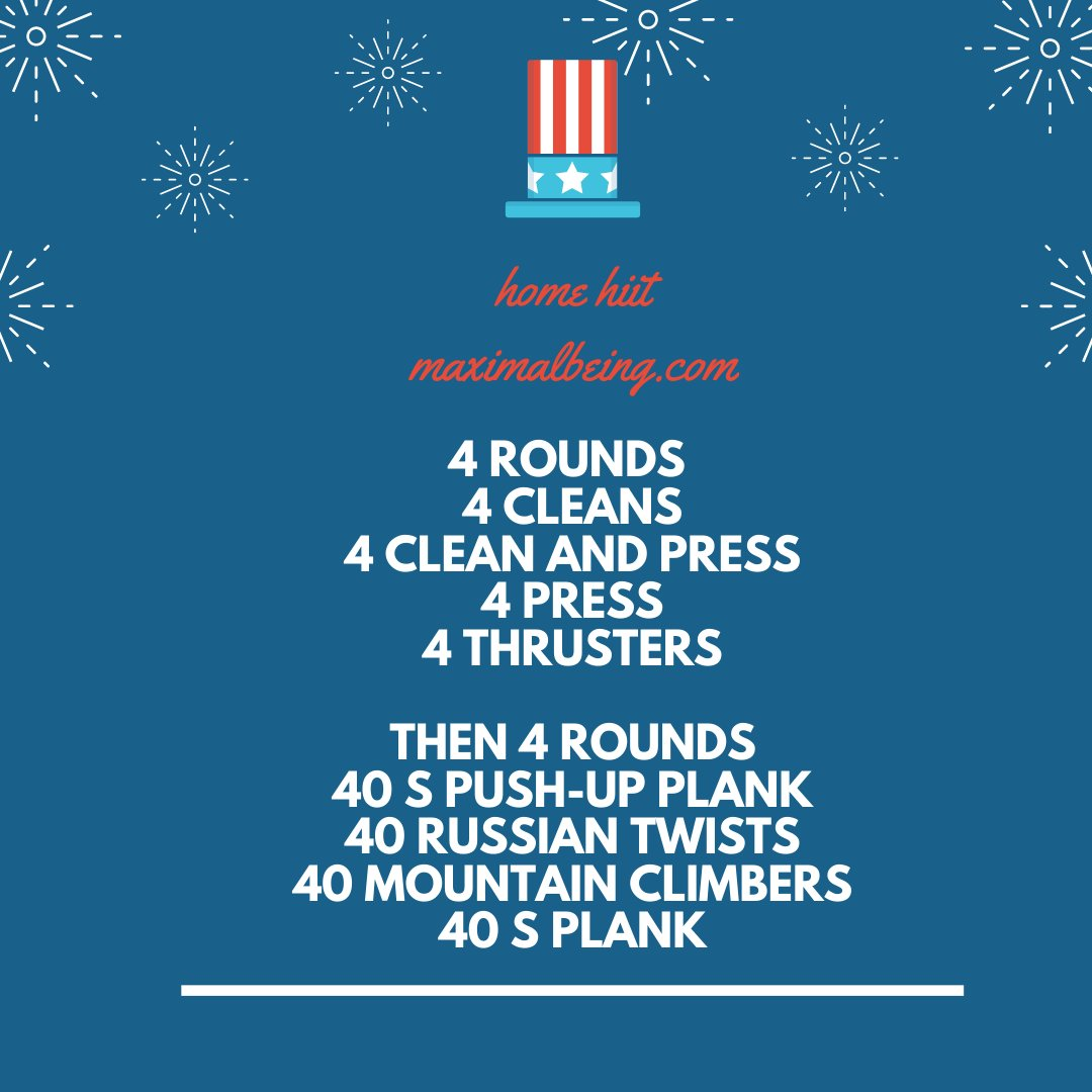 Happy 4th It's hot, but this HIIT will fire you up MORE! Strength then CORE! #July4th #July4thWeekend #workout #workoutmotivation #workouts #workouttime #workoutvideo #workoutoftheday #workoutfit #workoutathome #workoutroutine #workoutdone #workoutbuddy #workoutplan #workouttipspic.twitter.com/MAMQYyJQ6r
