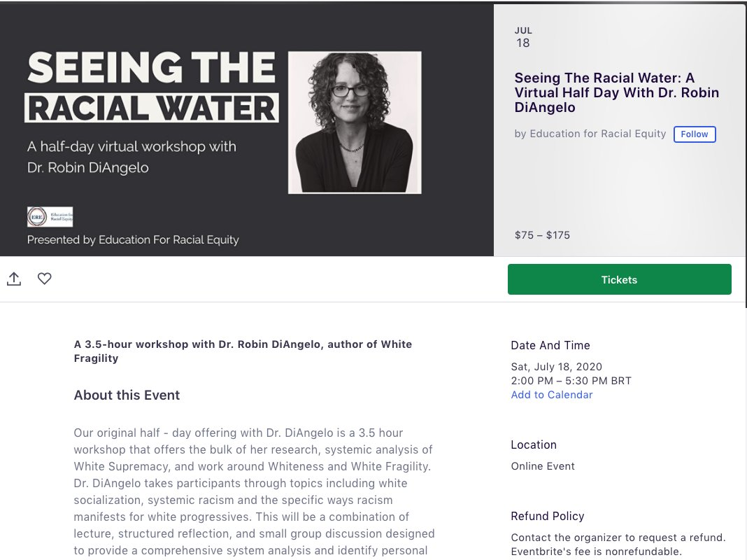 Spend 3.5 hours with racism guru and white cult leader Robin DiAngelo as she proselytizes your new duties, rituals and rules for communicating. Only $75 (Recommended for participants with an annual income less than $25,000) to $175! eventbrite.com/e/seeing-the-r…