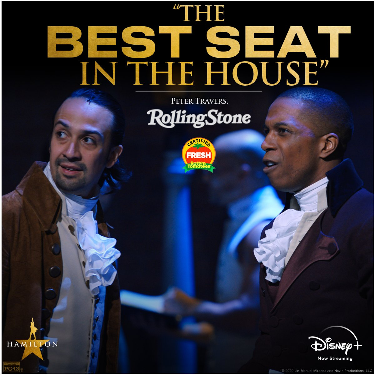 """We reserved """"the best seat in the house"""" just for YOU. Hamilton is now streaming on #DisneyPlus! #Hamilfilm"""
