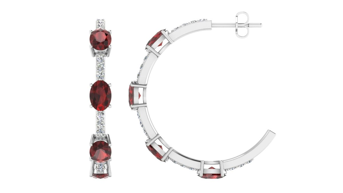 Excited to share the latest addition to my #etsy shop: Hoop Earring Oval Shape Natural Garnet And White Cubic Zirconia 925 Sterling Silver 18k Gold Plated Hoops Earrings For Her,Hoops Earring  #wedding #christmas #women #no #silver #pushback #cir