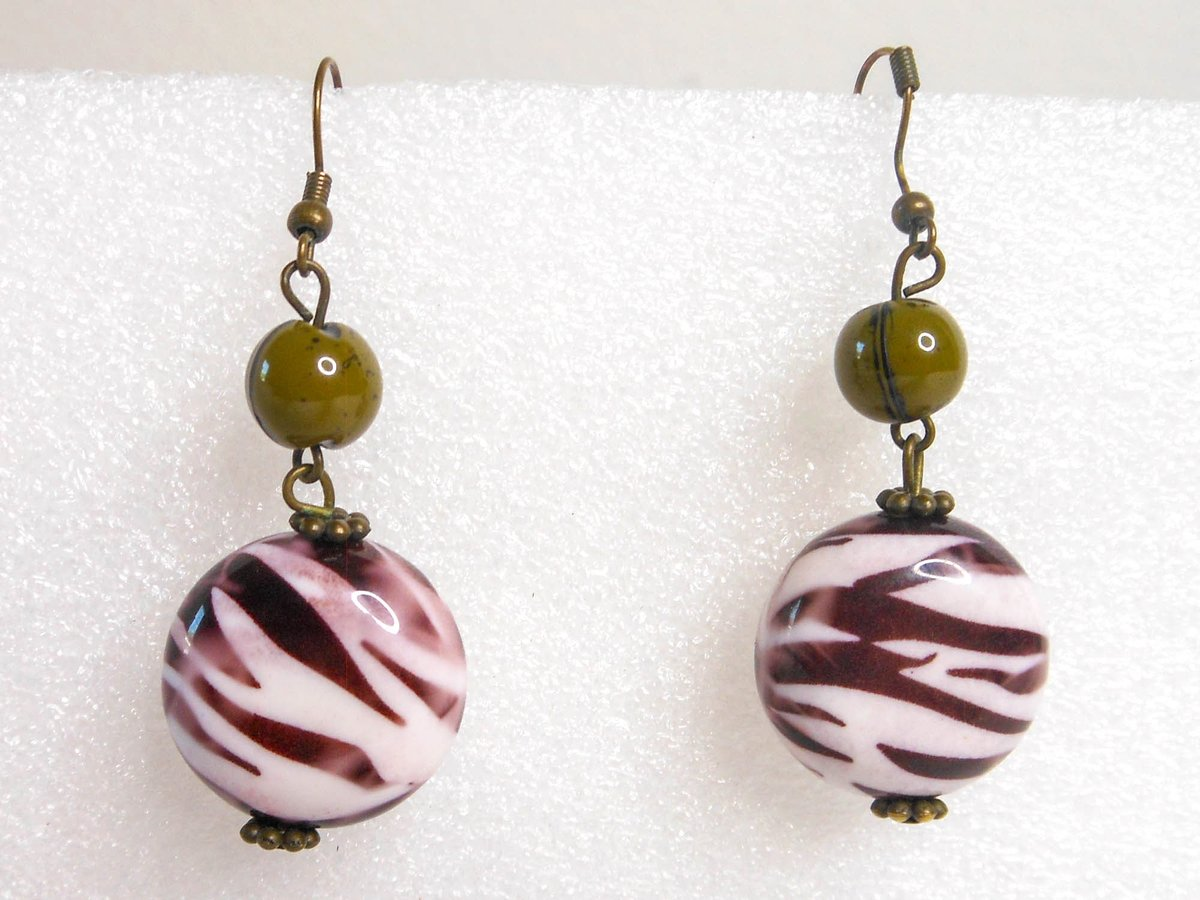 Excited to share the latest addition to my #etsy shop: Vintage White & Brown Striped Olive Green Double Bead Drop Earrings  #white #birthday #christmas #circle #brown #no #women #plastic #earwire