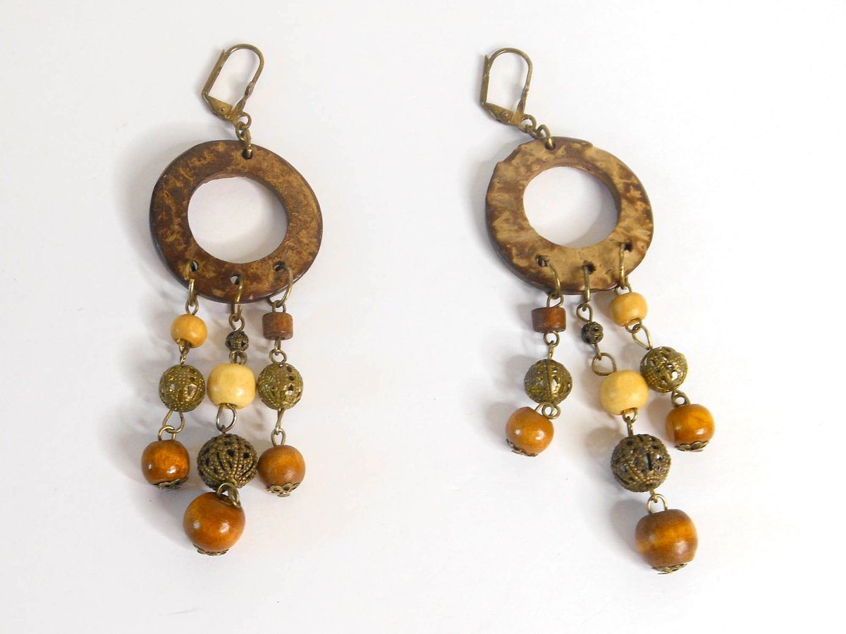 Excited to share the latest addition to my #etsy shop: Vintage Ethnic Tribal Wood Bead Dangle Earrings 4 Inch Drop Lever Backs  #brown #birthday #christmas #circle #copper #no #women #wood #leverback