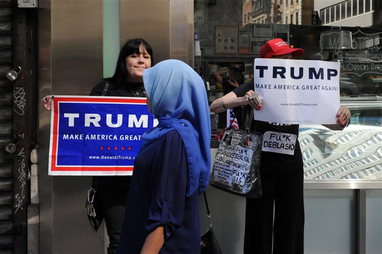 This photo is from 2016 when the Campaign was directing their hate at Muslims, and Mexicans. Trump was calling Africa Sh*thole countries.   These actions have caused the unrest that we are seeing now.   It's just #TrumpHate <br>http://pic.twitter.com/rCHHR2HlPK