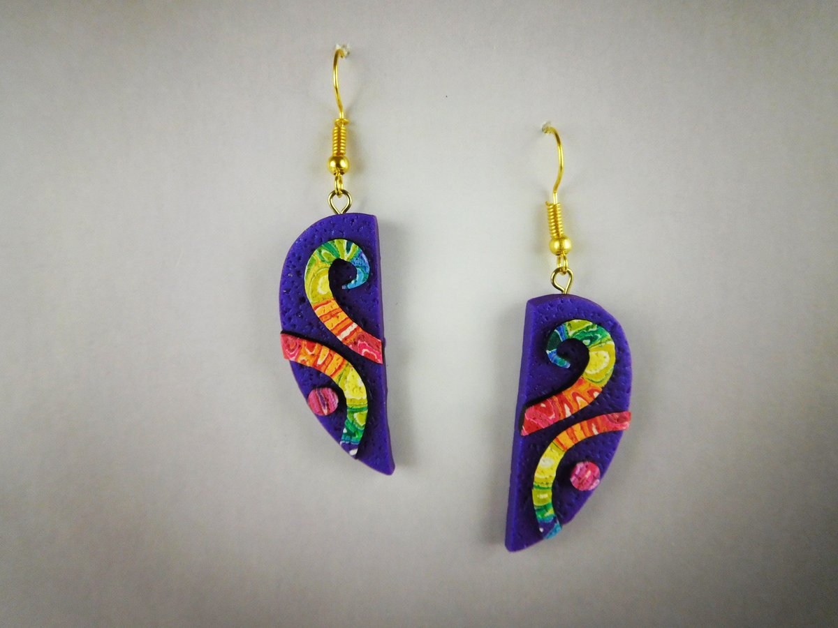 Excited to share the latest addition to my #etsy shop: OOAK Polymer Clay Earring. Rainbow Earrings are Handmade Earrings. This is the Perfect Dangle Earring Gift for Women.  #purple #birthday #christmas #oval #beachtropical #rainbow #women #earwi