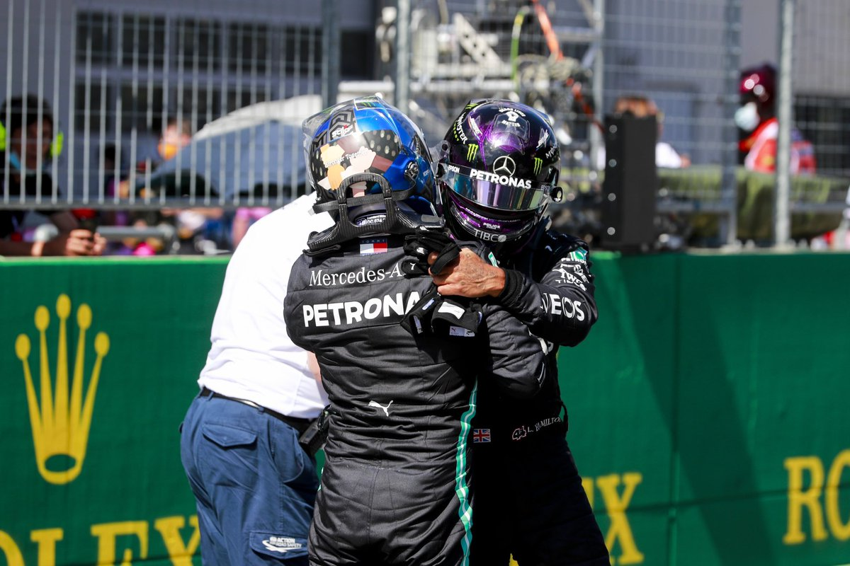 Great job by the team today and this man here. Look at the back of his helmet, this is a sign showing all hands together no matter your colour which I really respect. Let's hope for a great race tomorrow 🙌🏾 #AustrianGP #F1