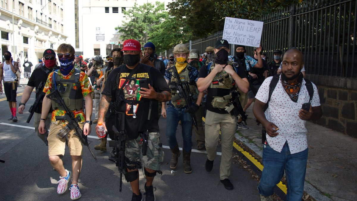 """Today armed Black Lives Matter and """"boogaloo"""" protesters joined forces for an open carry rally against police violence and government overreach. I'll have HD video up ASAP, but here are some photos I snapped today.  Betcha didn't see this on cable news today. https://t.co/mWXUKQkhA8"""