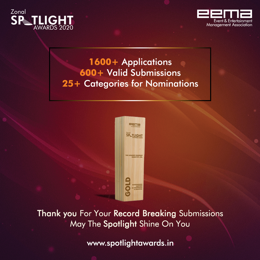 With Record-Breaking Submissions, EEMA is now all set for the Zonal Spotlight Awards.  We all are stuck at home, but with your amazing response one thing is for sure; nothing can stop us!!!  Are you Excited??? It's time for the #ZonalSpotlightAwards2020 #EEMAIndia https://t.co/NDp2LnNy3e