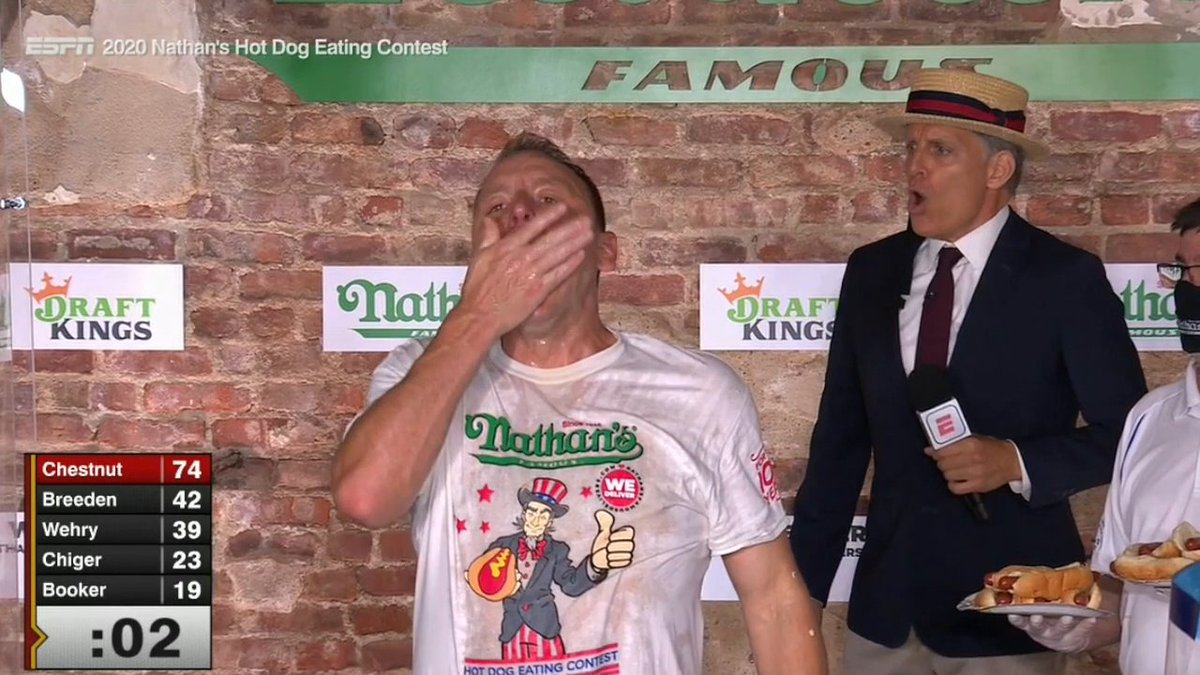 🌭 13-TIME CHAMPION 🌭 @joeyjaws breaks his own world record by eating 75 hot dogs and wins his 13th title in 14 years 💪