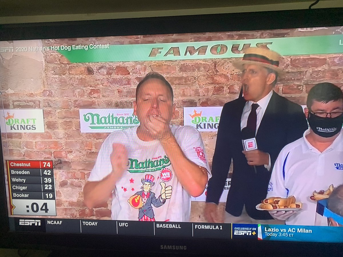 New World Record!  Joey Chestnut eats 75 #Nathan's #HotDogs in 10 minutes!! He wins the mustard belt for a 13th time.  Unbelievable! @WTOV9 https://t.co/isVKjtZlbE