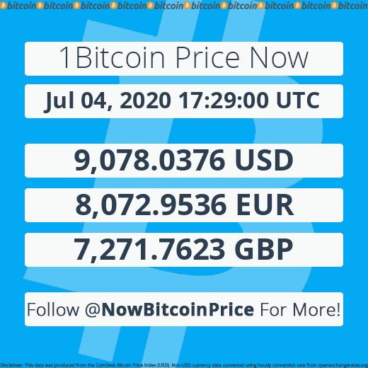 Jul 04, 2020 17:29:00 UTC | 9,078.00$ | 8,073.00€ | 7,271.80£ | #Bitcoin #BTC $BTC #crypto #financial #newspic.twitter.com/OhDIf6QyUL