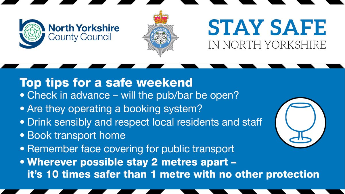 We all have a critical role to play to contain the virus in #NorthYorkshire and #York. Drink sensibly this weekend and  #ThinkAheadHelpLimitTheSpread https://t.co/sKItnugoch