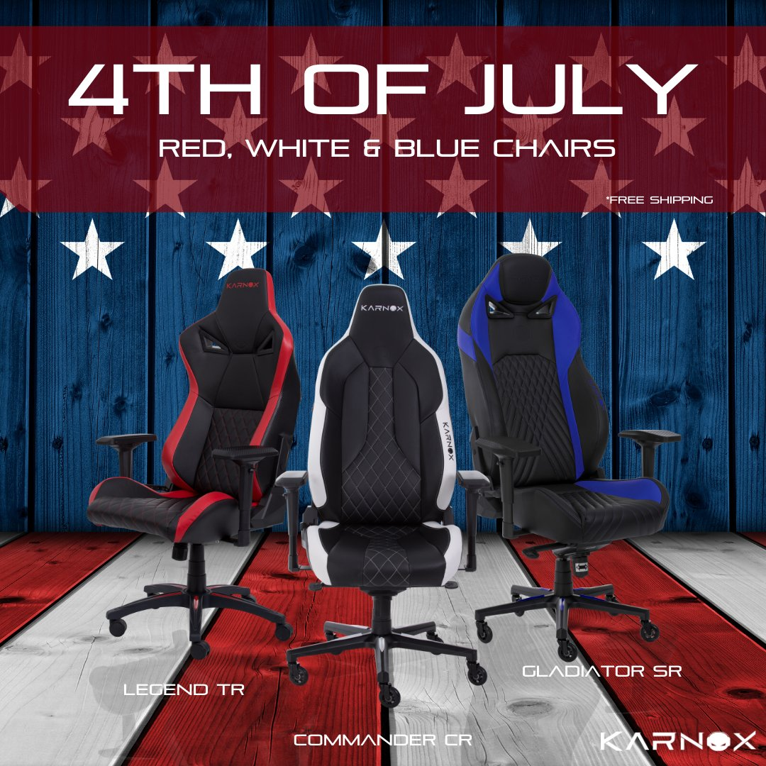 Happy 4th of July from all of us at the Karnox family! Check out our red, white and blue chair collection #redwhiteandblue #4thofjuly  #karnox #karnoxfamily #strongtogether #gaming #gamingchairs #gamingrig #gamingsetup #homeofficepic.twitter.com/NsghnNT9Cf