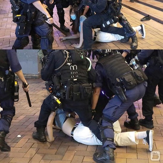 @joshuawongcf @PoPoEatShit1314 SEXUAL HARASSMENT is what this is. The #girl literally have nothing with her, why did the #Police kneel on her butt and lift her clothes?  #MeToo #whyididntreport https://t.co/Ij06ySrmcd