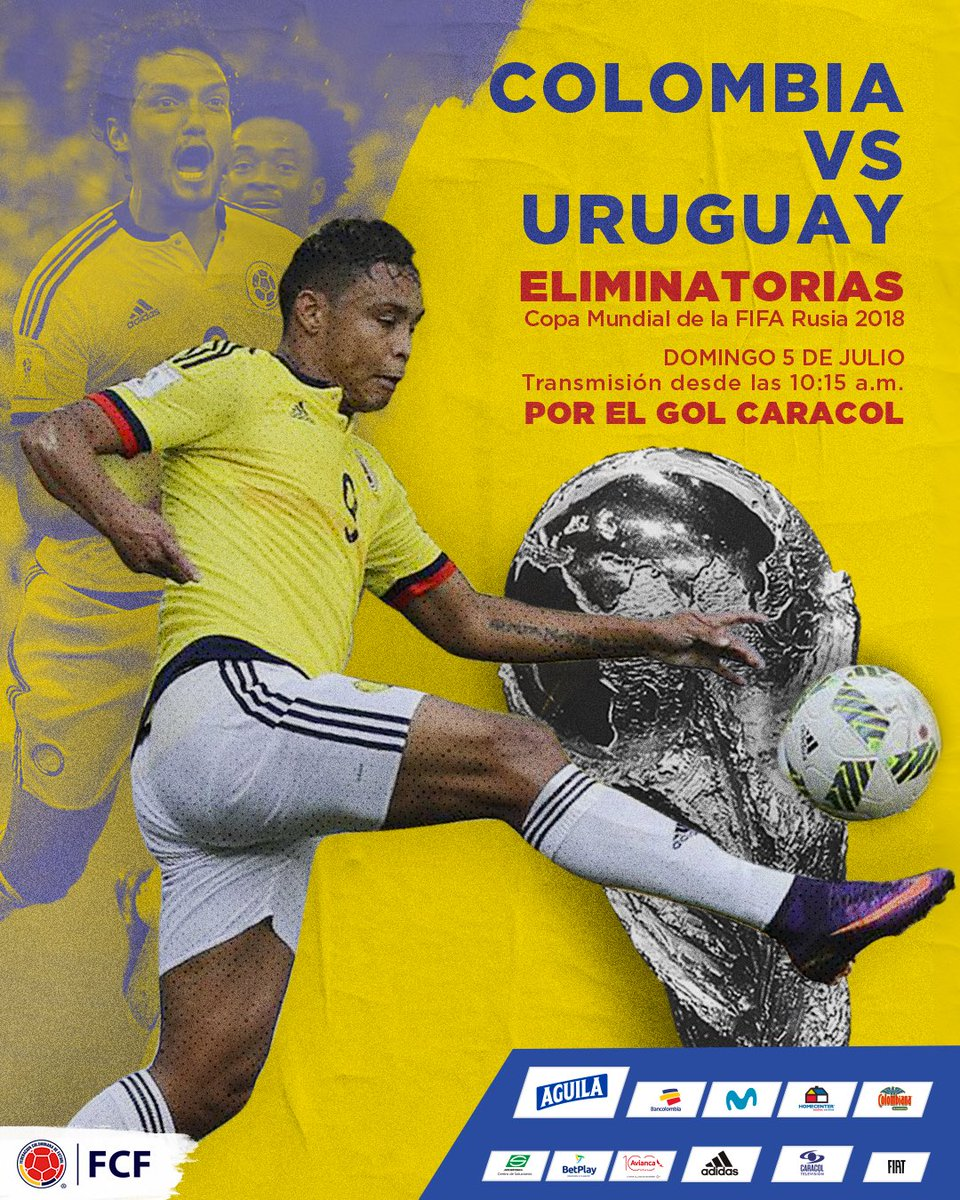 ¡Un partido lleno de garra!  Revive el encuentro 🆚 Uruguay en Barranquilla por las Eliminatorias a Rusia 2018 🇨🇴  🏆 Eliminatorias Copa Mundial de la FIFA 2018 🆚 Uruguay 🗓 Domingo 5 de julio ⏱ 10:15 a.m. 📺 @GolCaracol  #EnModoEliminatorias #ViveElGolCaracol https://t.co/iVjqdgUMcl