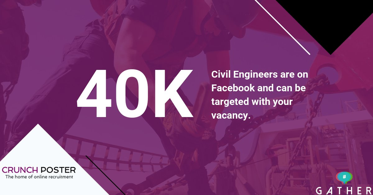 Are you looking to fill a Civil Engineering role? Are you using Social Media to find them? If not, why not? We have identified over 40K people who work in civil engineering and we can target them with YOUR role. Contact me now. pic.twitter.com/4Jd68sKOXh