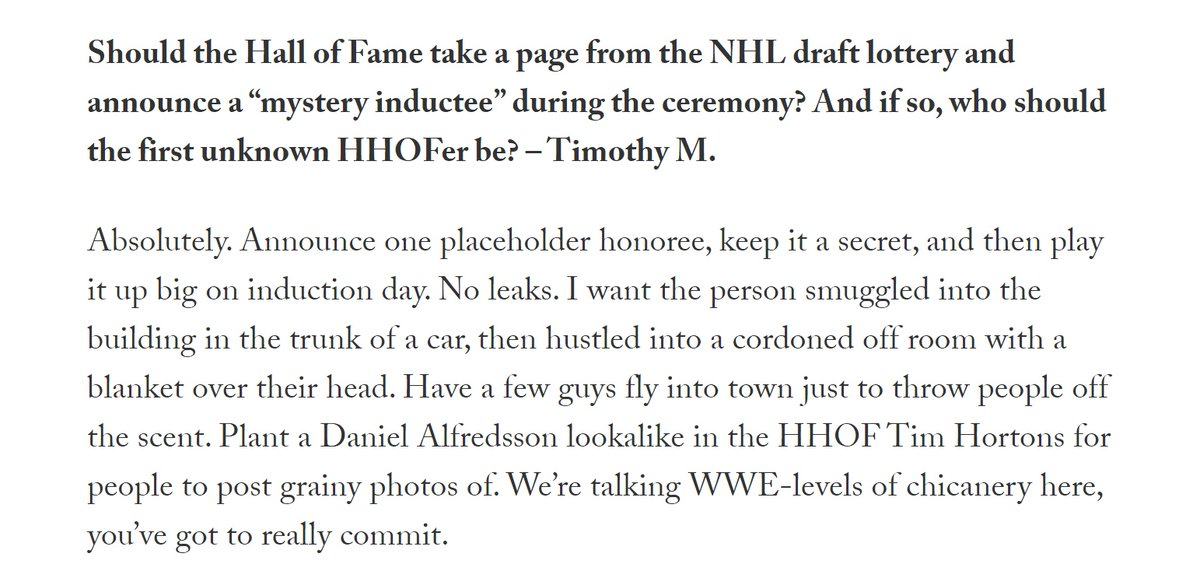 DGB Mailbag: Why the HHOF should steal the draft lottery's idea and have one mystery placeholder selection, and other important thoughts. https://t.co/VArE6kY0PH https://t.co/RcjOIiJnk1