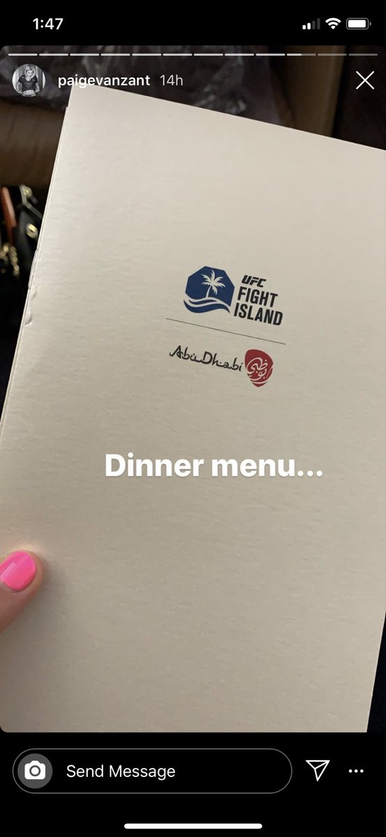 "Sources I spoke to seem quite pleased with the accommodations. After all, they don't usually always fly biz class and Etihad planes are nice. They even have their own ""Fight Island"" signage on the plane, as you can see from this @paigevanzant IG story. https://t.co/HdwAlZfpnU"