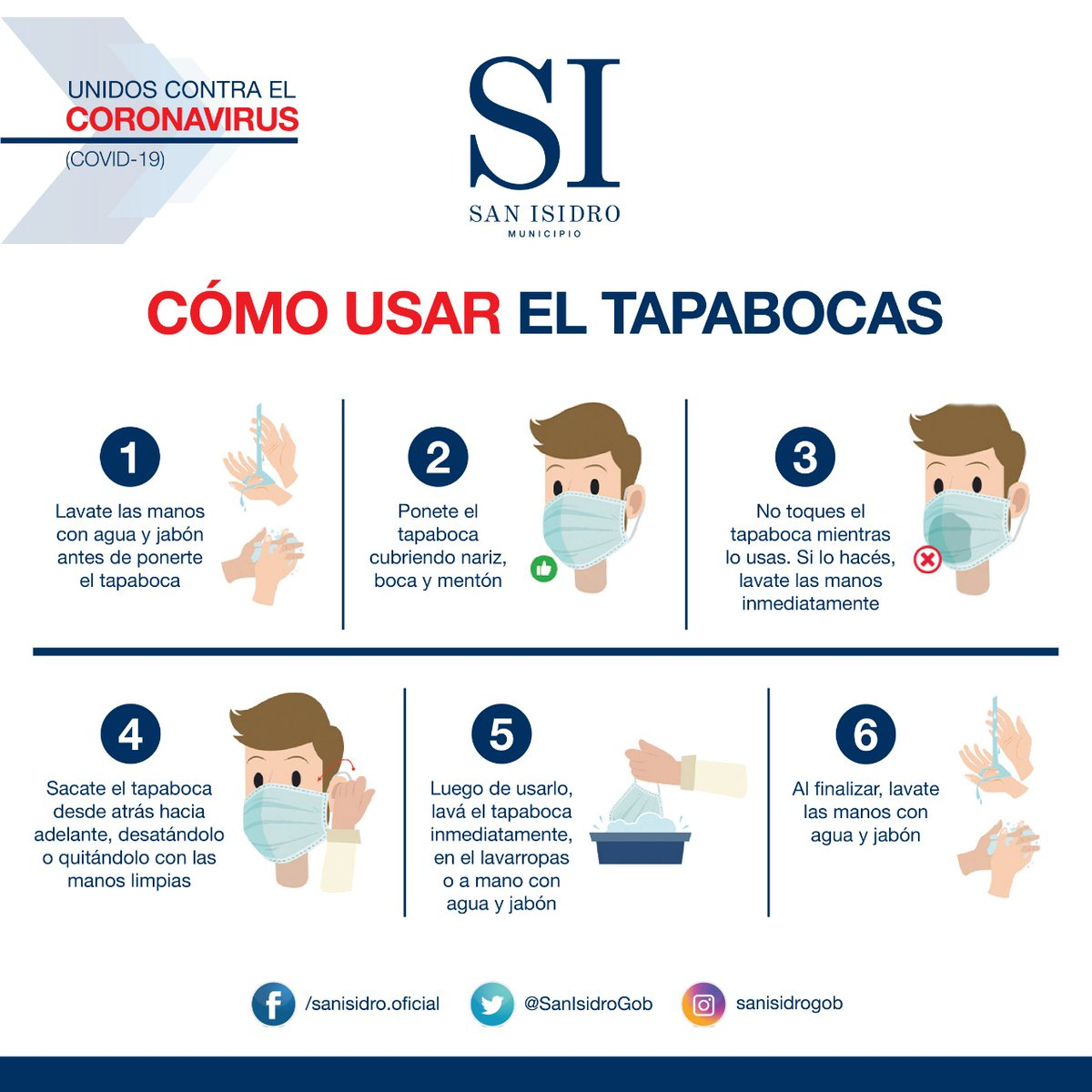 El uso del barbijo es obligatorio en San Isidro. Tomá todas las precauciones al usarlo. #Salud #SanIsidro #SanIsidroEsDistinto https://t.co/bdnggJZHTk