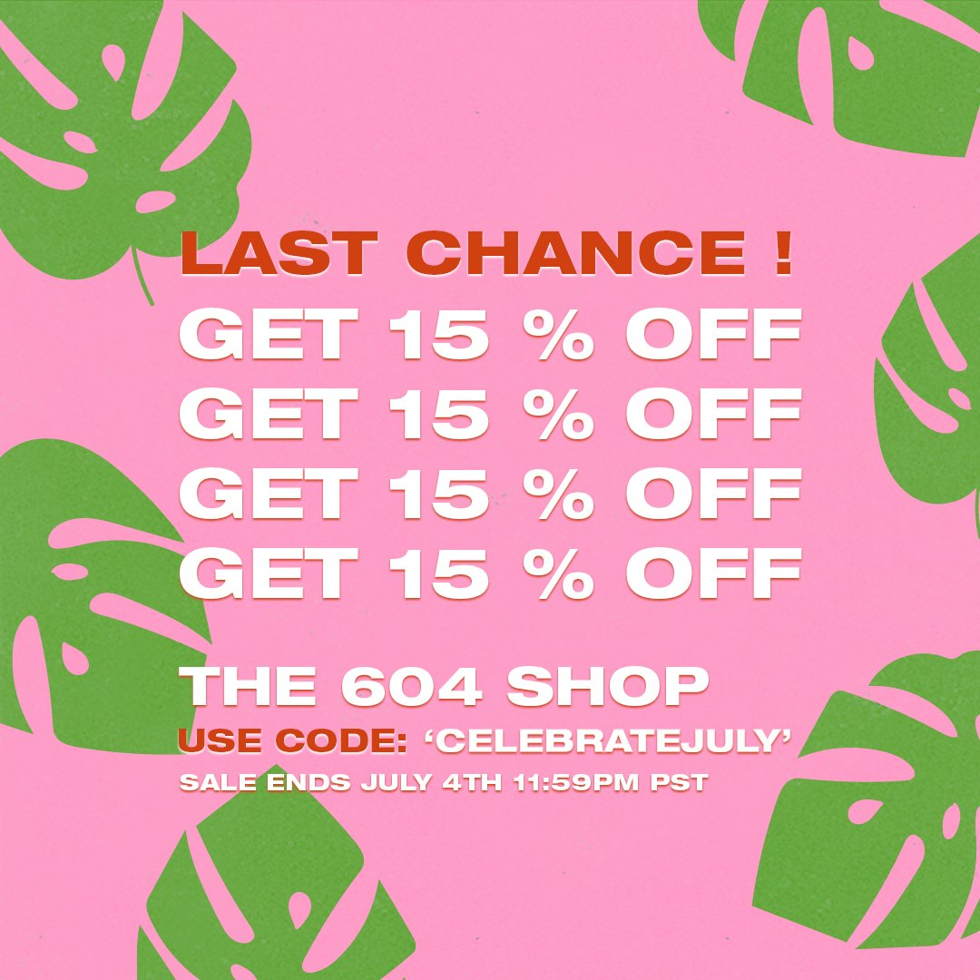 🛒 LAST CHANCE TO SHOP THE SALE 🛒  GET 15% OFF EVERYTHING USE CODE: CELEBRATEJULY 604shop.com  Offer ends July 4th 11:59PM PST.  #CanadaDay #CanadaDaySale #ShopNow #CanadianMusic #CanadianArtist #VancouverMusic #604Records