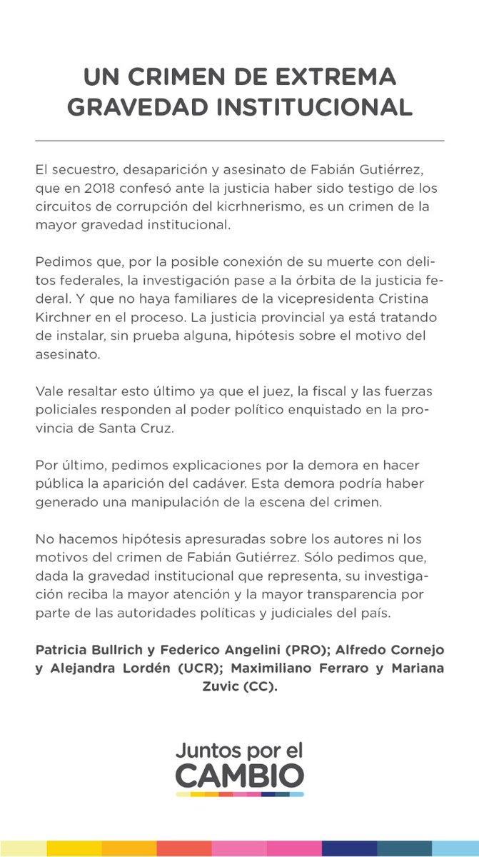 UN CRIMEN DE EXTREMA GRAVEDAD INSTITUCIONAL  Mensaje de nuestra coalición sobre el asesinato de Fabián Gutiérrez. 👇 https://t.co/mSCOmkg0b8