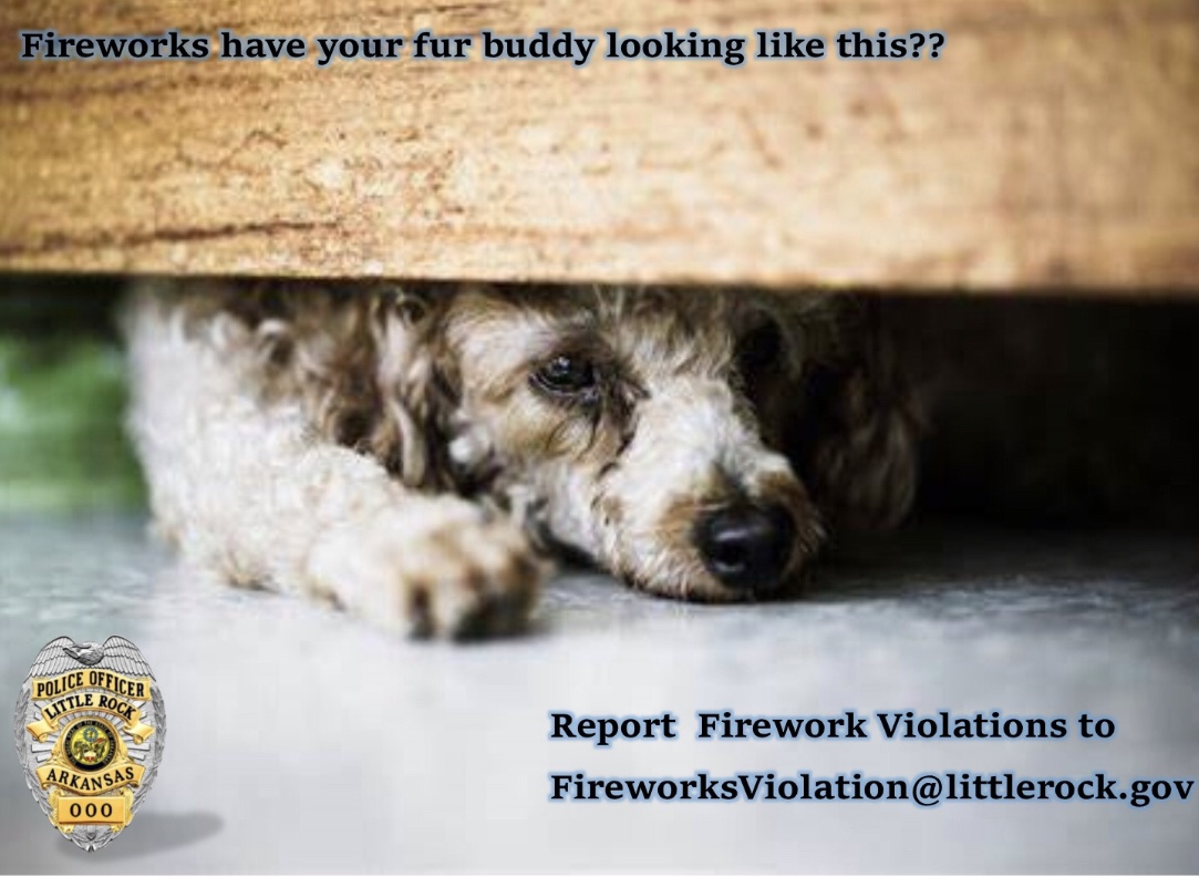 Every year on July 4th pets run away as a result of fireworks. City Ordinance 18-103 prohibits Fireworks in the City of Little Rock. Report firework violations to FireworksViolation@littlerock.gov https://t.co/Y9yxLUn5cO
