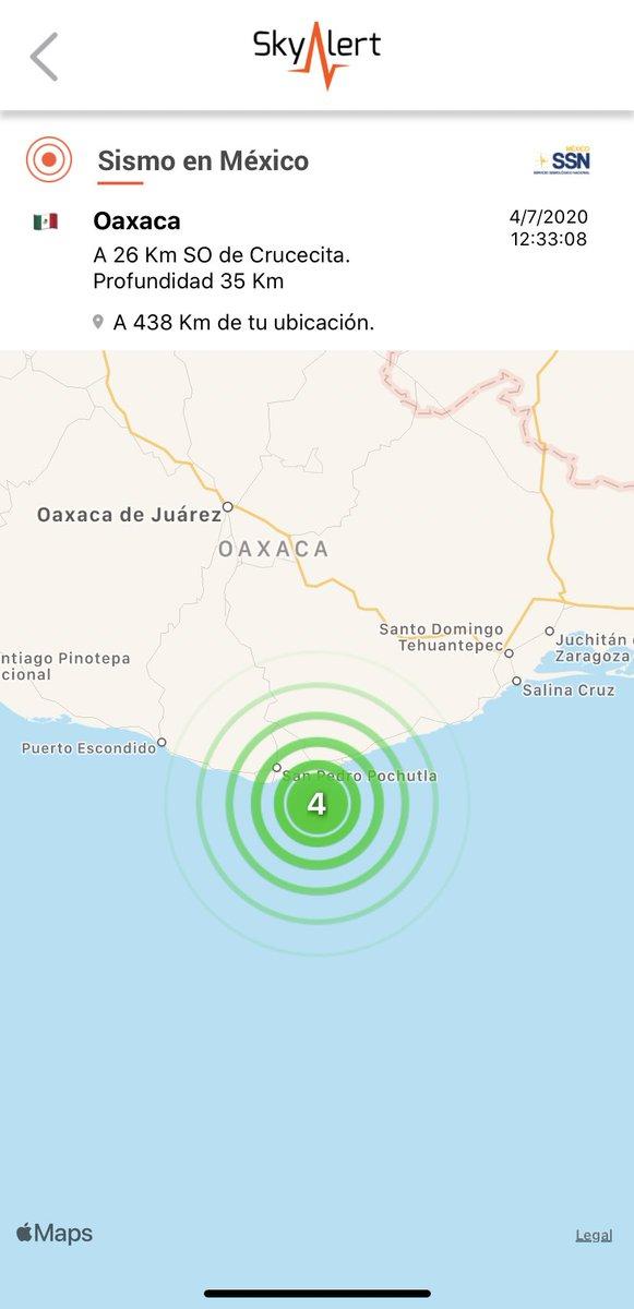 Sismo magnitud 4.0 a 26 km al surponiente de Crucecita, Oaxaca.  Detectado por @RedSkyAlert con intensidad «leve» en epicentro. Imperceptible en zona centro. https://t.co/GfUciZnI19