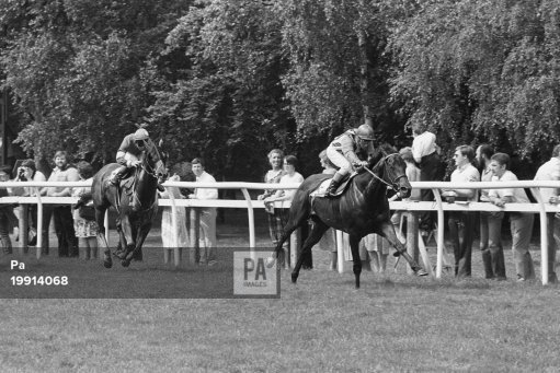 7th July 1983 Willie Carson bringing home Habibti to win the July Cup from Soba ridden by Dandy Nicholls