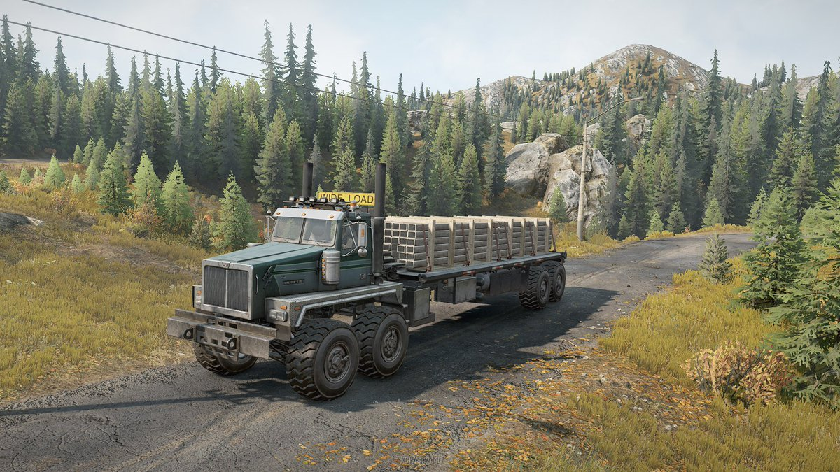 Western Star 6990 Twinsteer [ MOD ] fully loaded test drive in Michigan. Big awesome truck. @PlaySnowRunner #snowRunner #gamers #pcgaming #gamer   https://t.co/mbeYlVxLYV https://t.co/TiXCSkAvqi