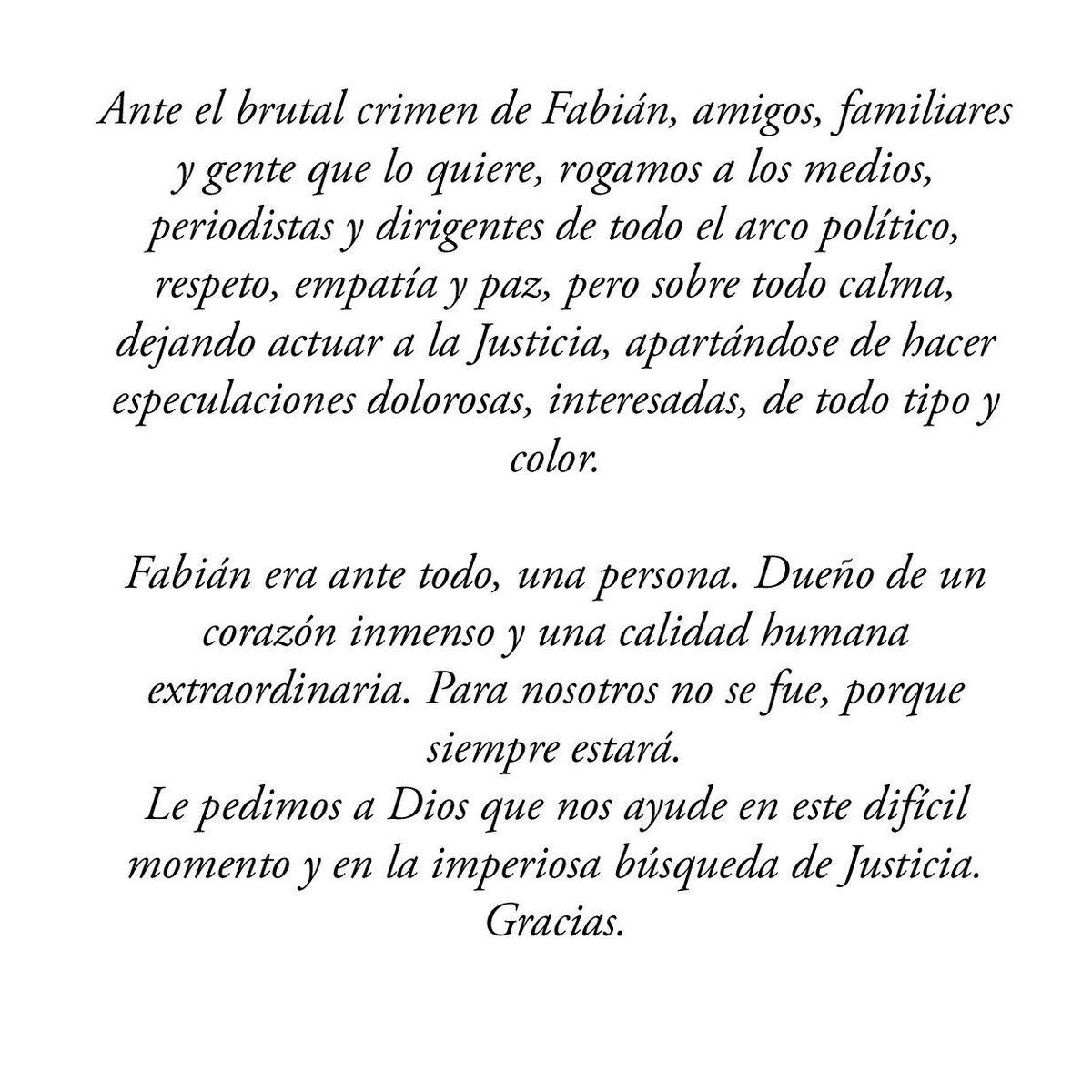 Comunicado de familiares y amigos de Fabián Gutiérrez https://t.co/NweR9GXThf