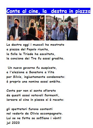 Salvini Tajani Meloni in piazza, Conte al cine