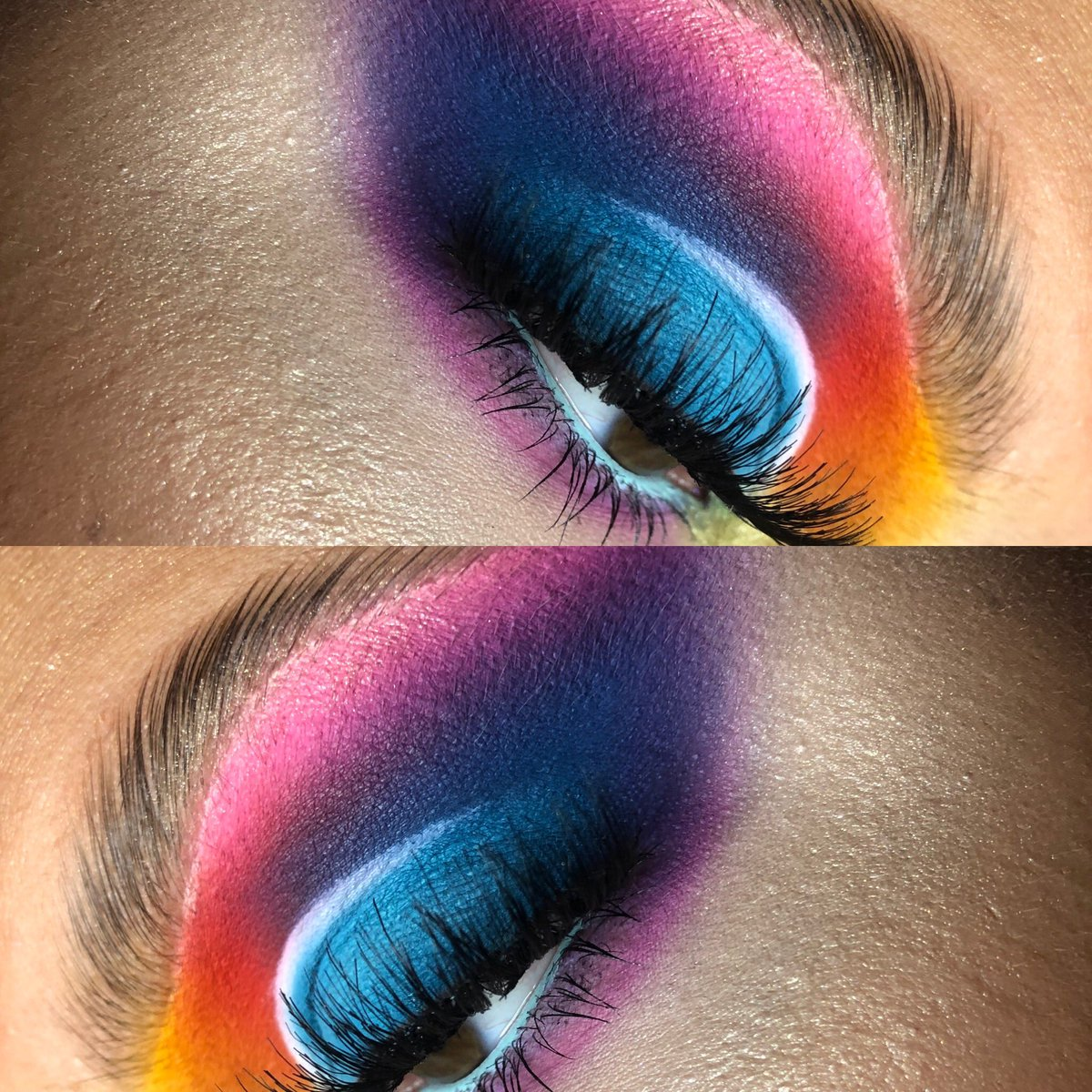 @saskiafield look  @plouise_makeup_acade my base shade 0,touch of frost  @bperfectcosmetics carnival xl palette @staceymariemua  @beautybaycom brights palette  @bperfectcosmetics  bad llama mascara @peachesmakeup lash number 08 @peachesandcream banana boat pigmentpic.twitter.com/dODndOI87C