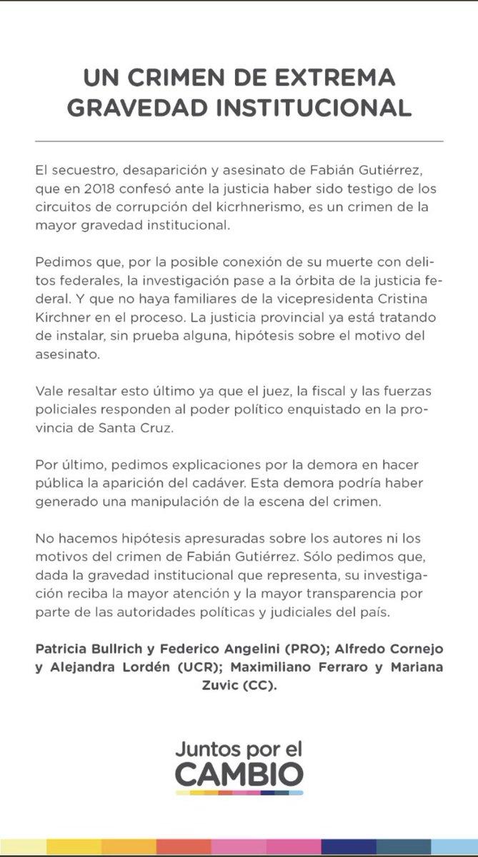Un crimen de alta gravedad institucional. La condición de arrepentido de Fabian Gutierrez y sus vinculaciones ameritan investigación del fuero federal y sin familiares de la ex presidenta que intervengan en el proceso. https://t.co/ZVYM9slDnL