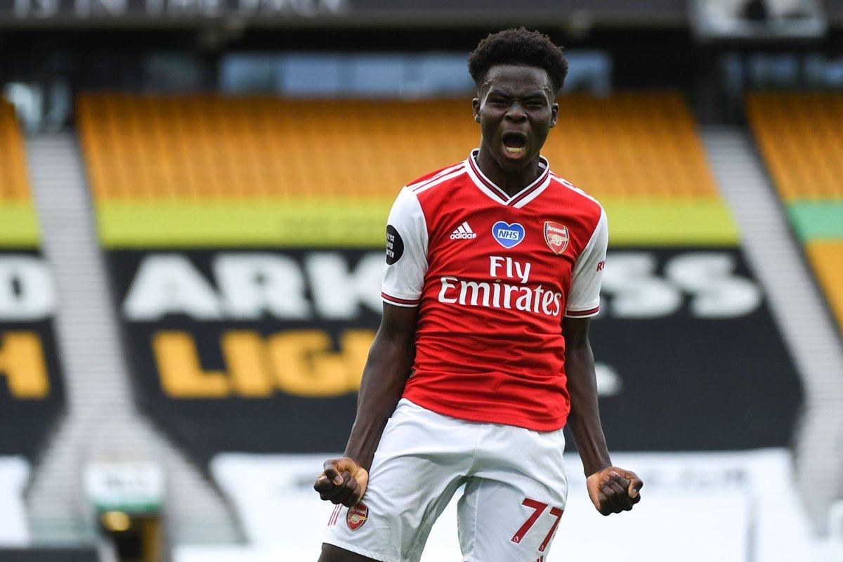 Bukayo Saka celebrating his goal against Wolves #Arsenal