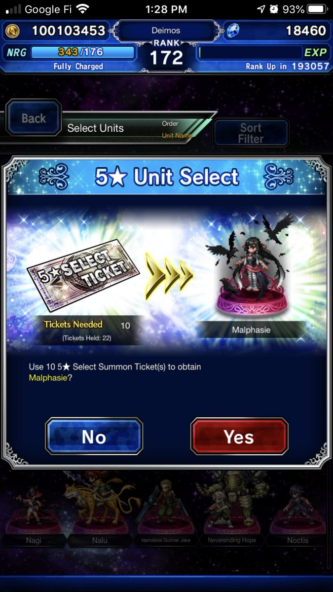 I leveled up the wrong character so I had to use a summon select ticket. Oh well, I liked the dark raven lass! 😍 #FFBEWW #FFBE #gamers https://t.co/lCrKLZHupX