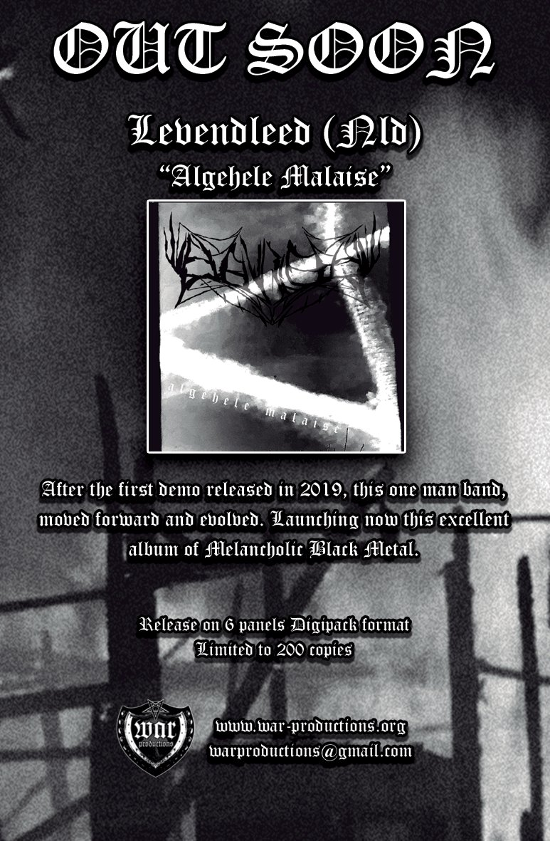 """Future release on Pre-order #Levendleed  """"Algehele Malaise"""". #BlackMetal Limited to 200 copies in 6 panels Digipack.  Till 09 July 3.33 € the digital format and 7€ the physical format After 09 July 6.66 digital format and 10€ the physical format  http://warproductions.bandcamp.com/album/wpcd034pic.twitter.com/mm4k7HxJsW"""