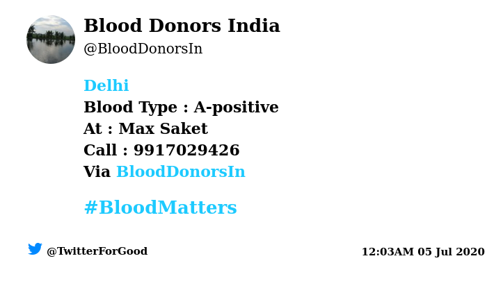 #Delhi Need #Blood Type :  A-positive At : Max Saket Blood Component : Need Plasma A+/A-ve/AB+ve/AB-ve ve from #COVID19 recovered patient. Number of Units : 2 Primary Number : 9917029426 Via: @BloodDonorsIn #BloodMatters Powered by Twitter https://t.co/N87c5fE7NN