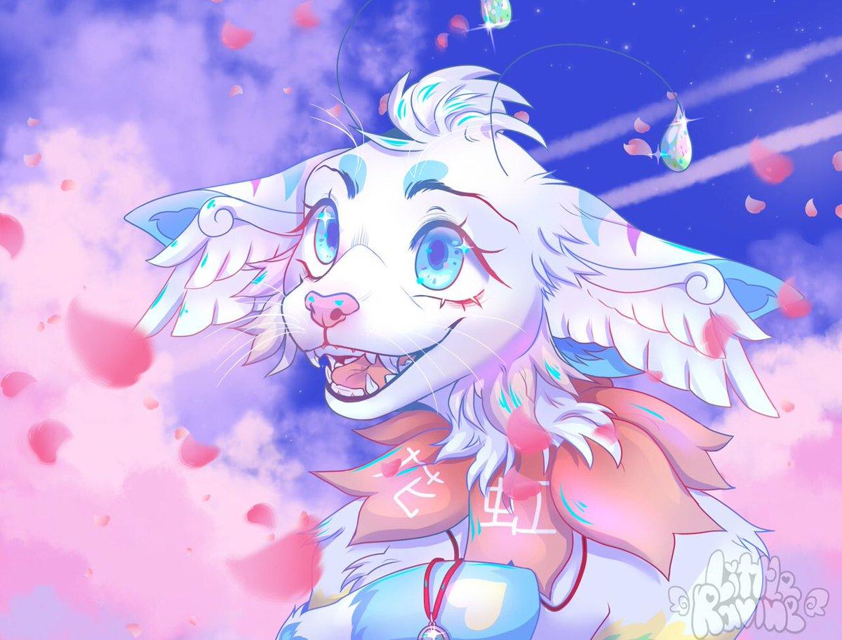 Detailed bust for @/monday.echo on Instagram 🌸  #furry #fursona #bust #characterdesign #furryfandom #cute #kawaii #aestheic #scenic #digitalart #painttoolsai #adorable #furryart #furryfandom #spring #garden #fairygarden #sakura #blossom #petals #anime #cherryblossom