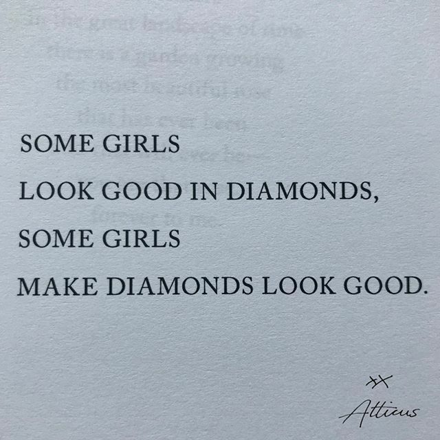 atticuspoetry:    'Diamonds' #atticuspoetry #atticus #poetry #poem #quotes #love #wild #love #thetruthaboutmagic #diamonds — view on Instagram https://ift.tt/2LXcGa0pic.twitter.com/wxR9gOWlaQ