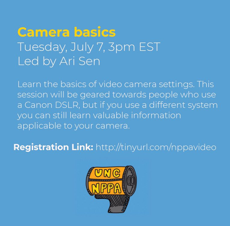 📣 Calling aspiring #videojournalists: Virtual workshops on video storytelling offered this month by #UNCNPPA — open to all! Check out camera basics w/ @ArijitDSen ⬇️ and more listings here: https://t.co/BUdcNwapPX