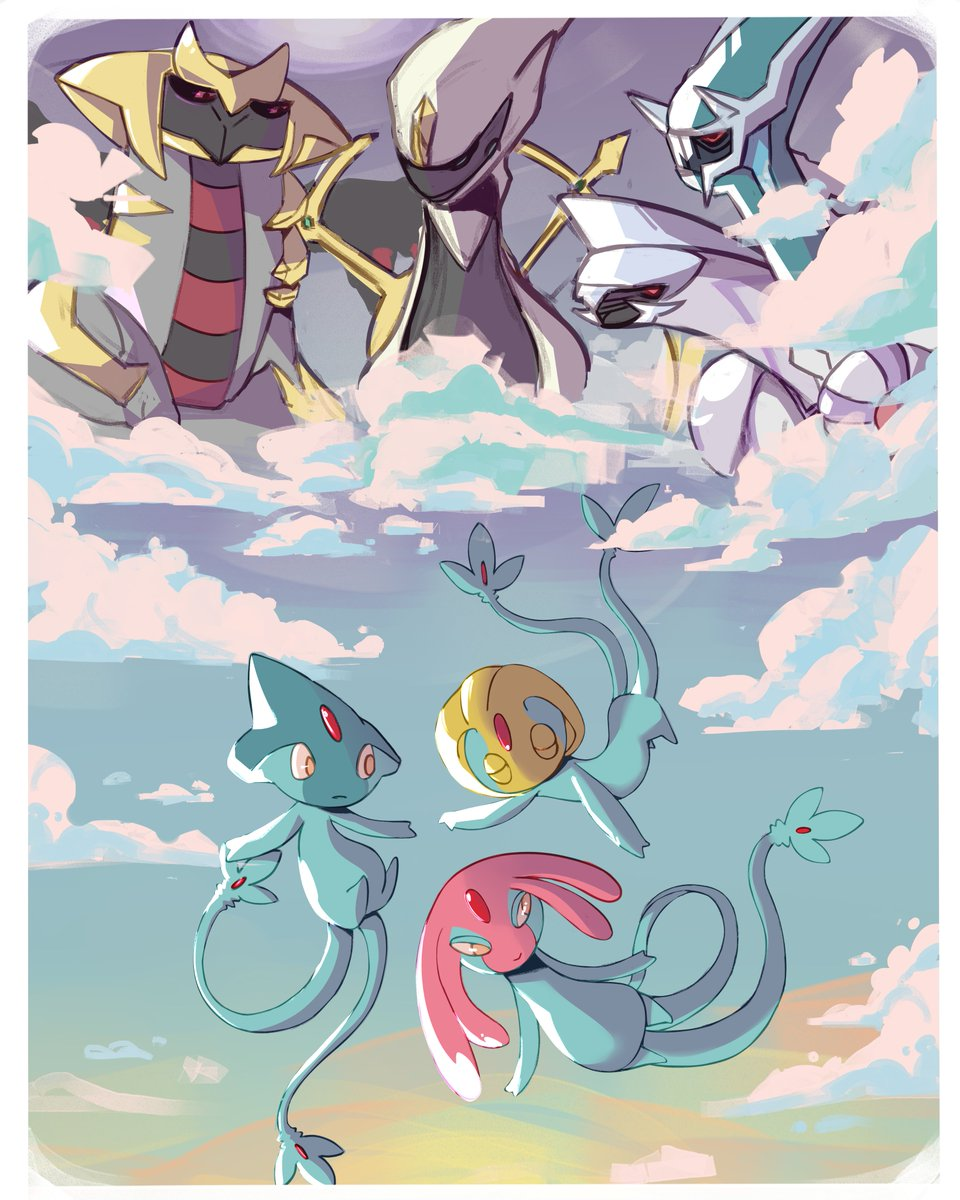 recent commission art! lake and creation trio ft. arceus<br>http://pic.twitter.com/P0CSkOSLnI